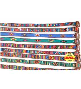 Authentic Guatemalan handmade silk leather braided unisex belt