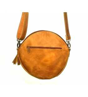 Guatemalan crossbody authetic leather huipil round purse