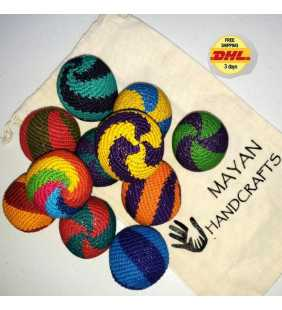 Crocheted cotton Hacky sacks juggling balls Guatemala antistress -Spiral-