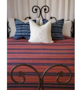 Cotton Guatemalan handmade weaved tassels eco dyed ikat bedspread