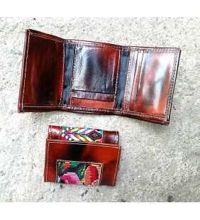 Guatemalan Leather and huipil tri-fold wallet