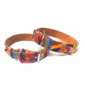 Guatemalan handmade cotton leather collar