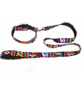 Guatemalan multicolor hand woven Dog Collar + Leash