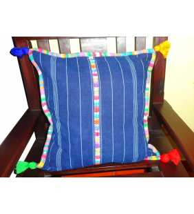 Guatemalan Indigo Pillow cover multicolor border and poms