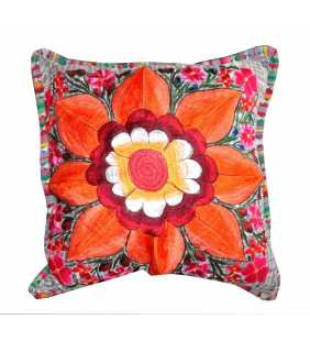 Guatemalan embroidery large flower pillow cover