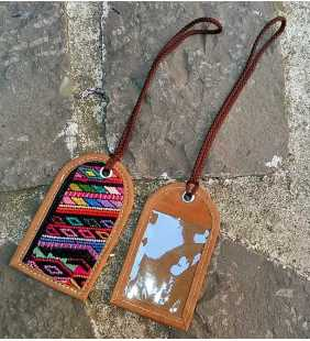 Guatemalan authentic leather luggage tag