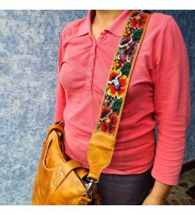 Guatemalan handmade beaded floral camera/bag strap