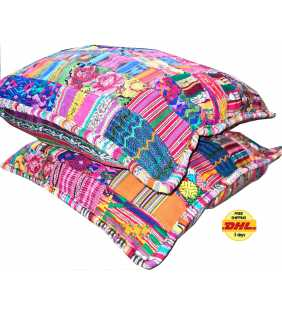 Guatemalan Decorative Patchwork Cotton Pillow Cover