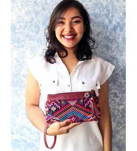 Guatemalan authentic leather huipil clutch purse
