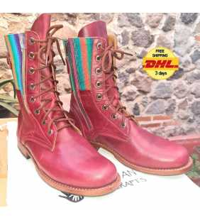 Handmade Guatemalan authentic leather Lace Up boots customizable