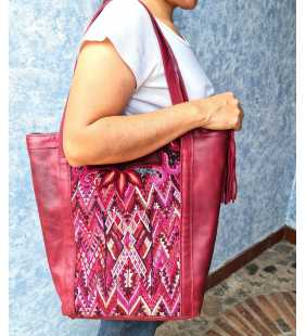Ethnic leather huipil tote bag