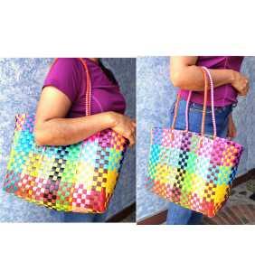 Woven Guatemalan Plastic market Bag - Recycled plastic